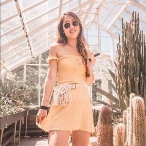 Frankie Phoenix Yellow Off the Shoulder dress